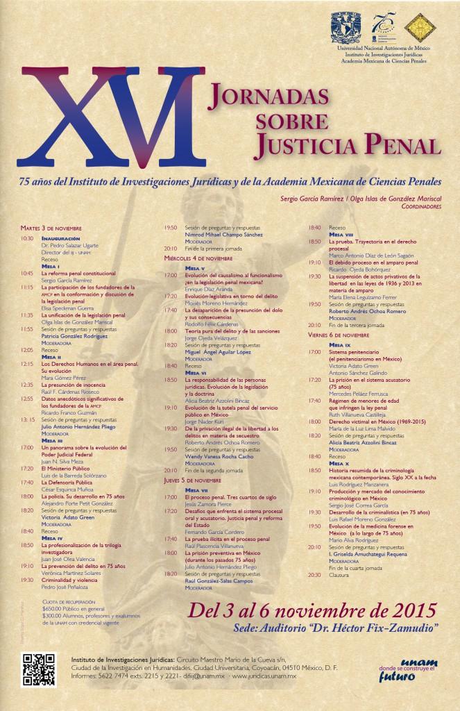 Cartel. XVI Jornadas sobre Justicia Penal