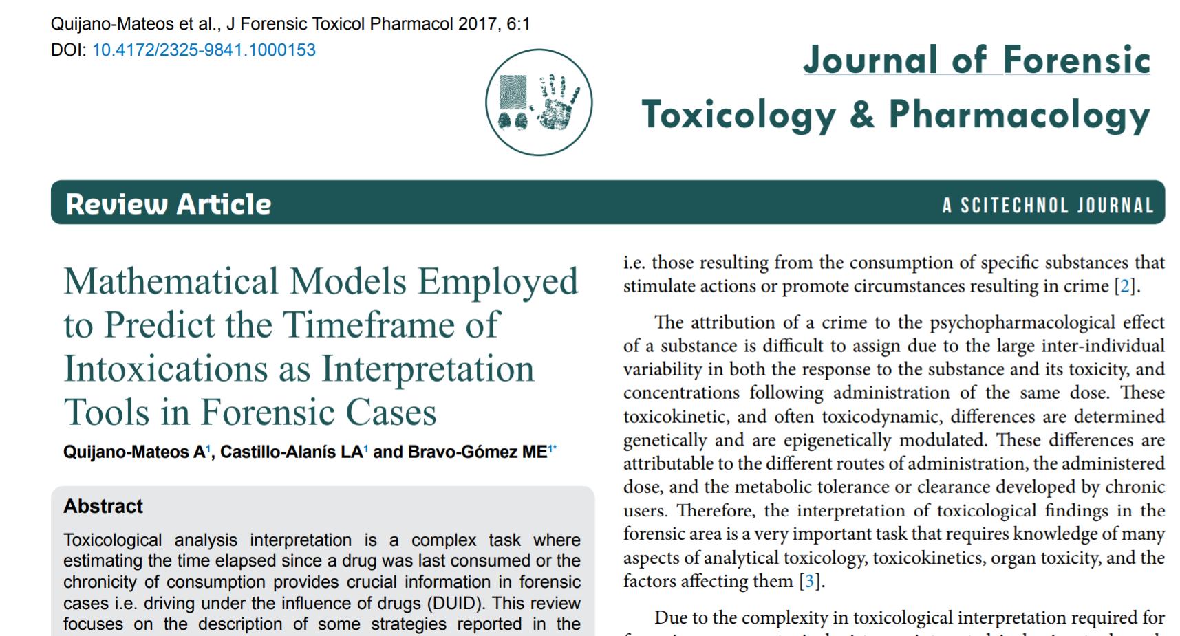 Artículo de la LCF, sobre modelos matemáticos para predecir el plazo de intoxicación