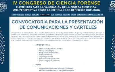 IV CONGRESO DE CIENCIA FORENSE , CONVOCATORIA PARA LA PRESENTACIÓN DE COMUNICACIONES Y CARTELES,