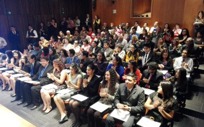 Durante la entrega de constancias a la tercera generación de la Licenciatura en Ciencia Forense UNAM