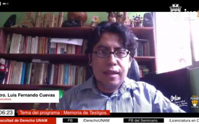 "Mundo Forense, invitado: Mtro. Luis Fernando Cuevas Remigio, tema: ""Memoria de testigos"""